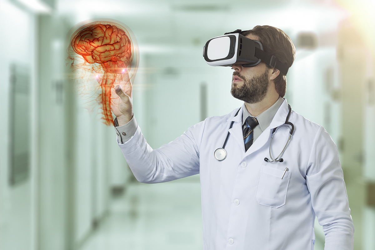Male doctor at a hospital, using a Virtual Reality Glasses, looking at a