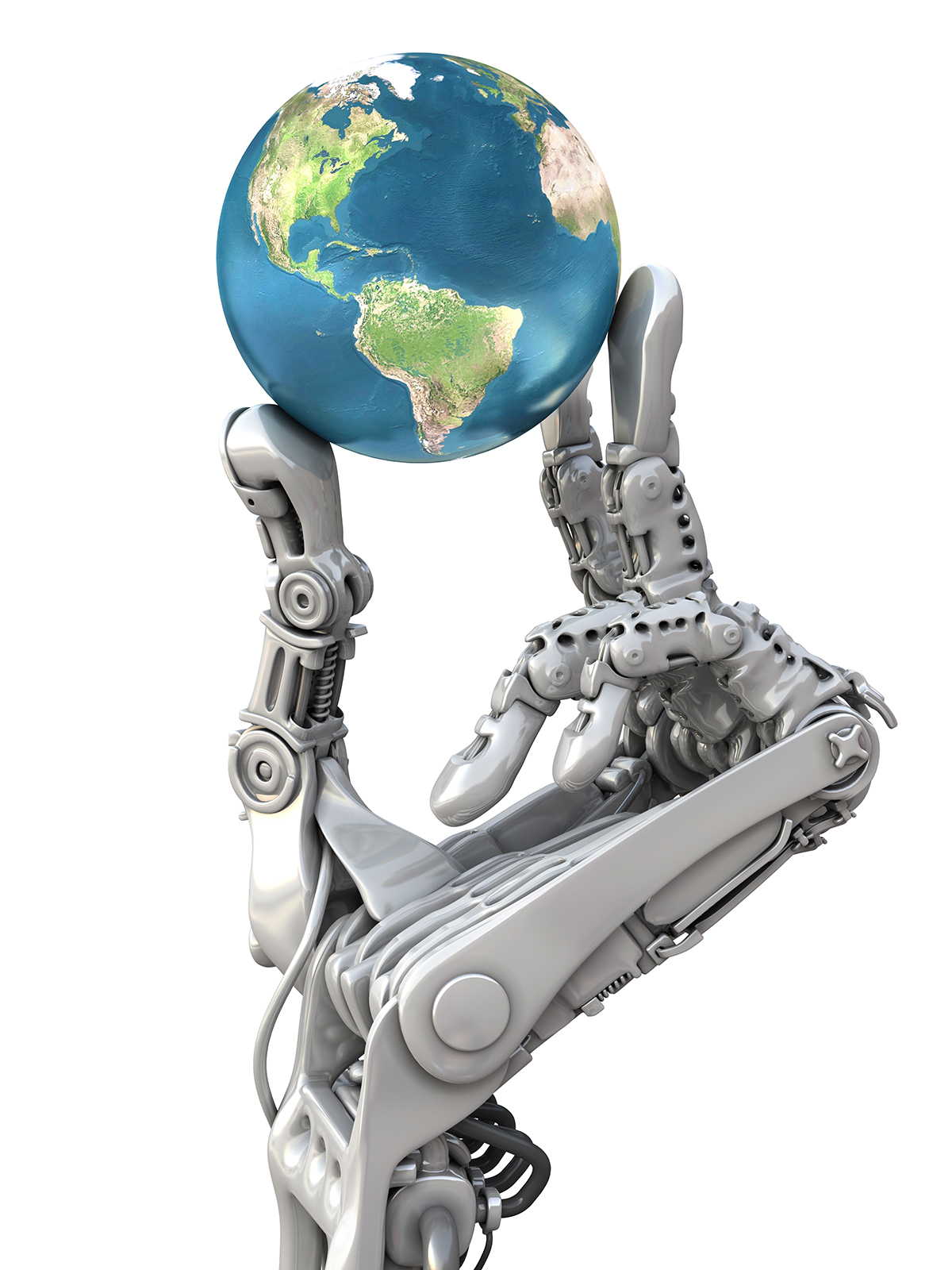 Robot keeps the blue globe. Planet Earth in hands at high