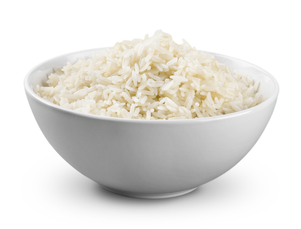 Rice in a bowl on background