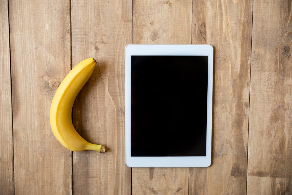 Banana and digital tablet