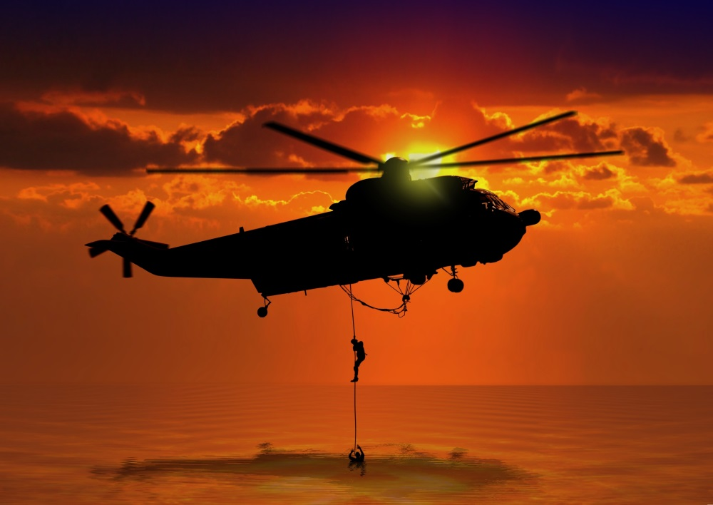 Rescue Helicopter at Sea