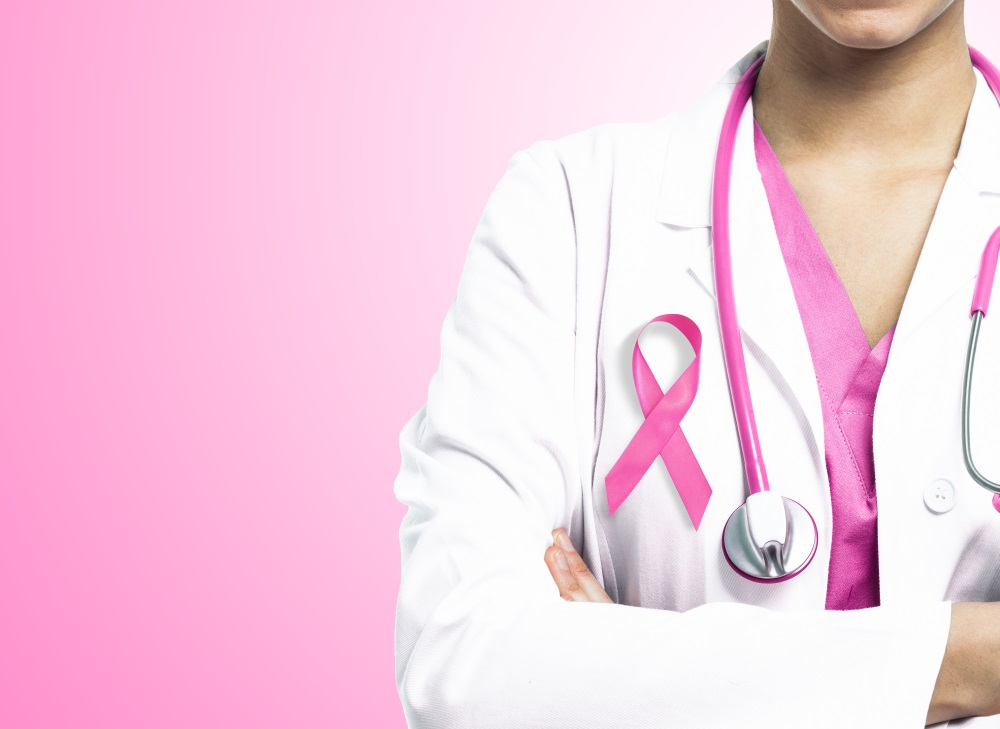 Nurse with pink ribbon