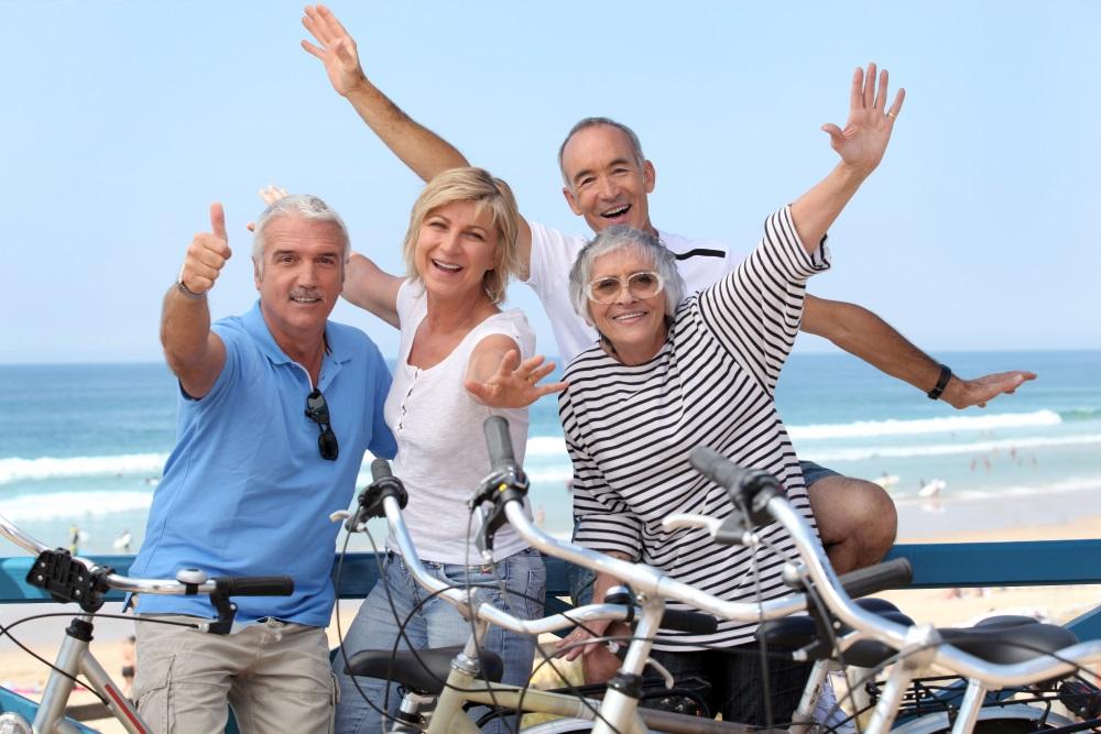 Group of seniors on bikes