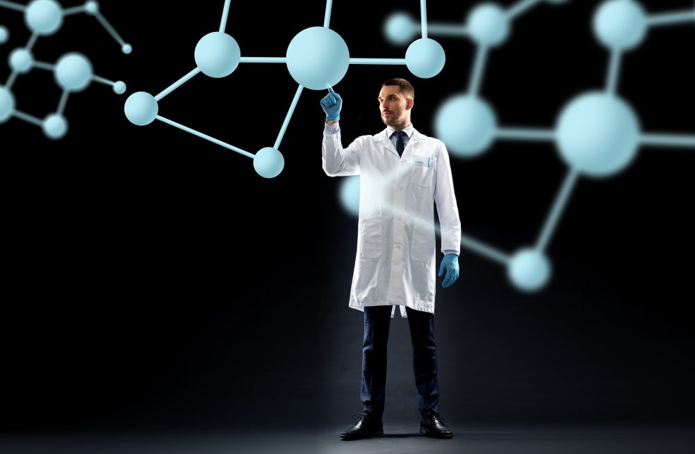 Scientist in lab coat with molecules