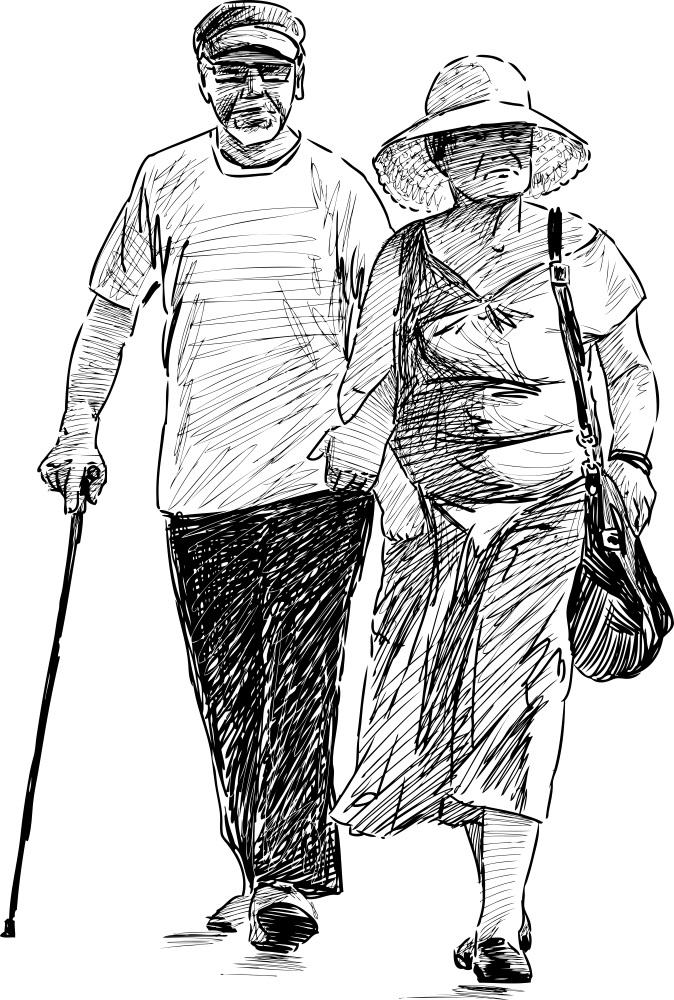 Elderly spouse walking