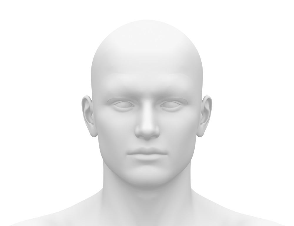 Blank White Male Head