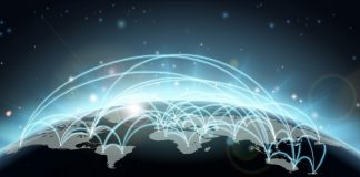 World travel or communications map