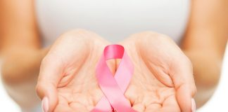 Hands holding pink breast cancer awareness ribbon