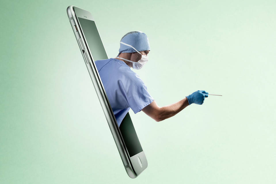 A surgeon coming out of a smartphone